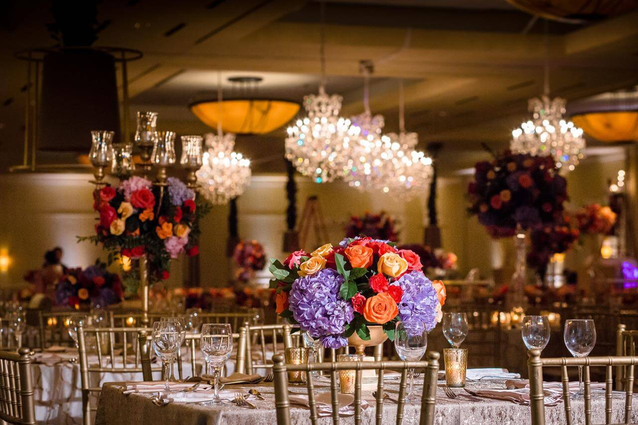 tablescape, centerpiece, indian wedding, chivari chairs